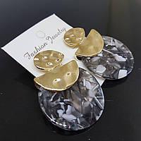 Серьги женские Africa Fashion Jewelry серый с коричневым 35mm (арт. ear-afr-grey-brown)