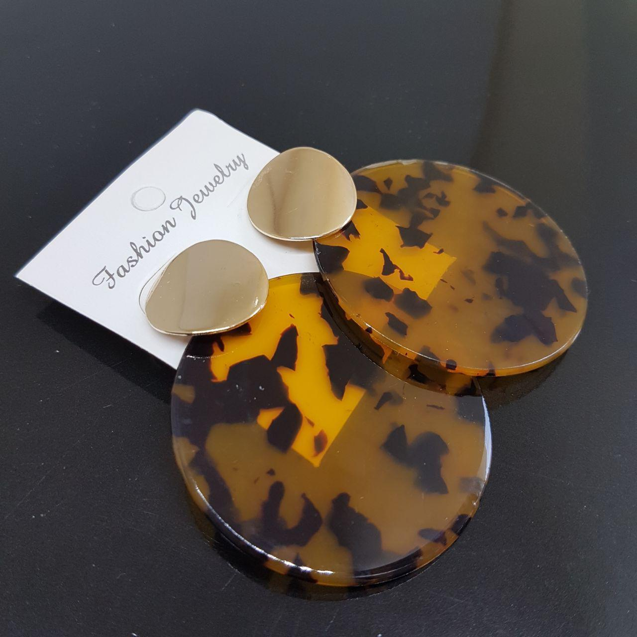 Серьги женские Mexico Fashion Jewelry янтарный с черным 50mm (арт. ear-mexico-amber-black)