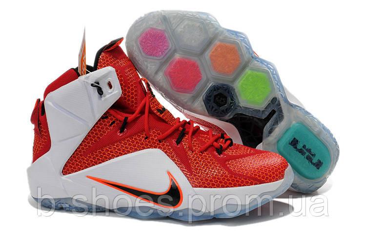 Мужские баскетбольные кроссовки Nike Lebron 12 (Red/White)