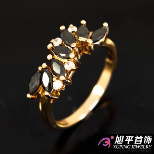 """Кольцо лимонное золото """"Волна из мелких узких камней"""