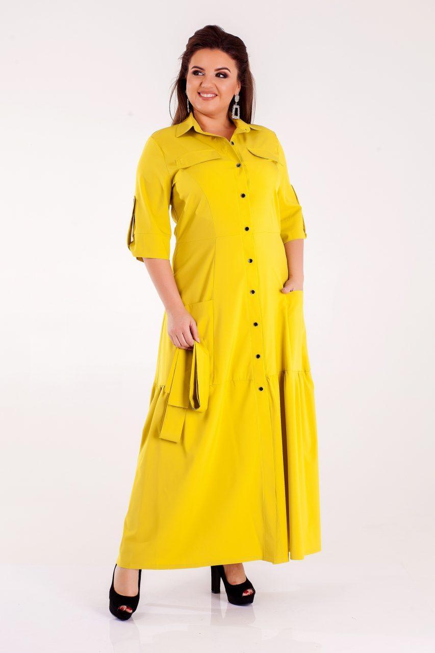 Хаки платье из евро-бенгалина 8309