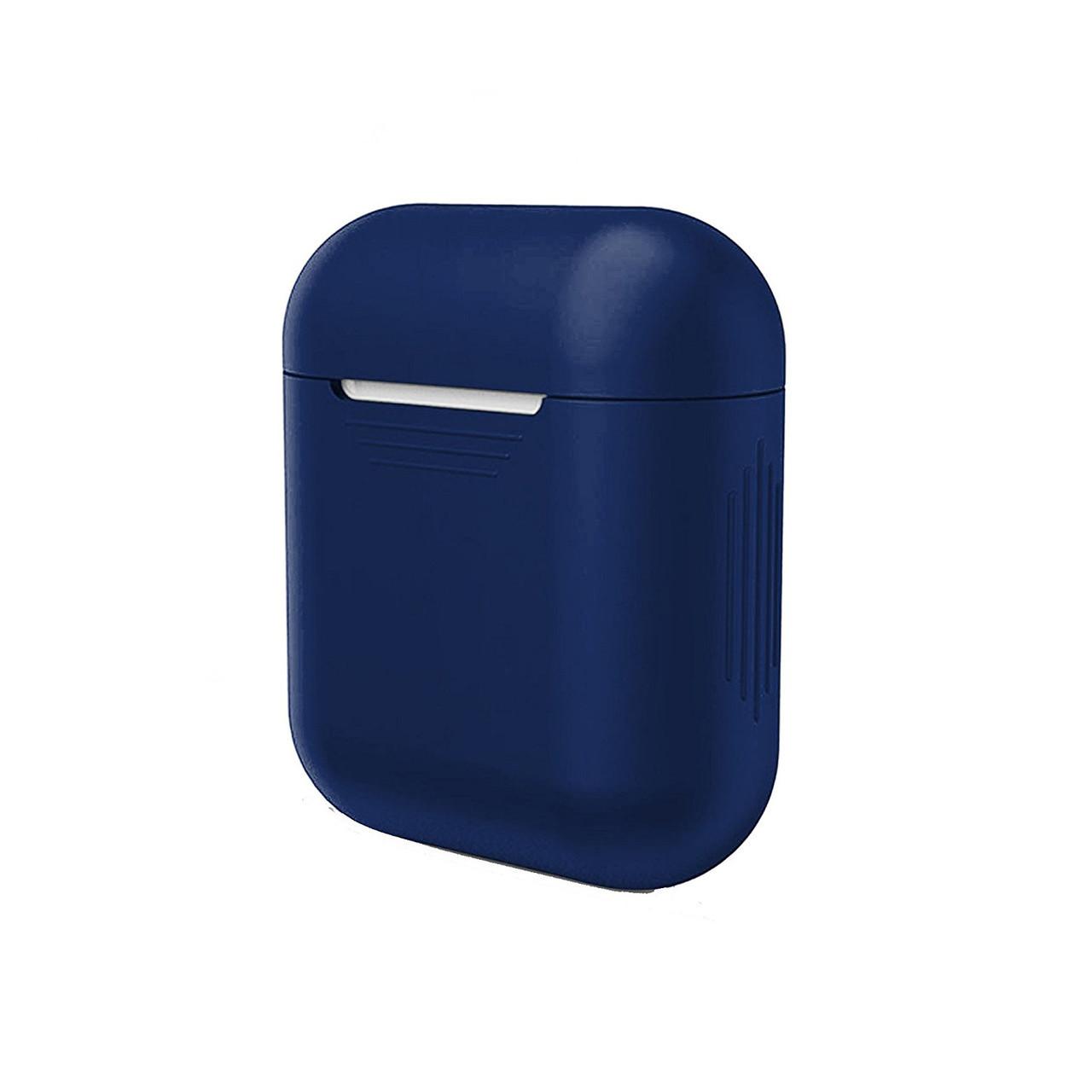 Чехол для AirPods silicone case темно синий