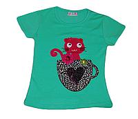 Детская зеленая футболка для девочки с чашкой и котенком Турция