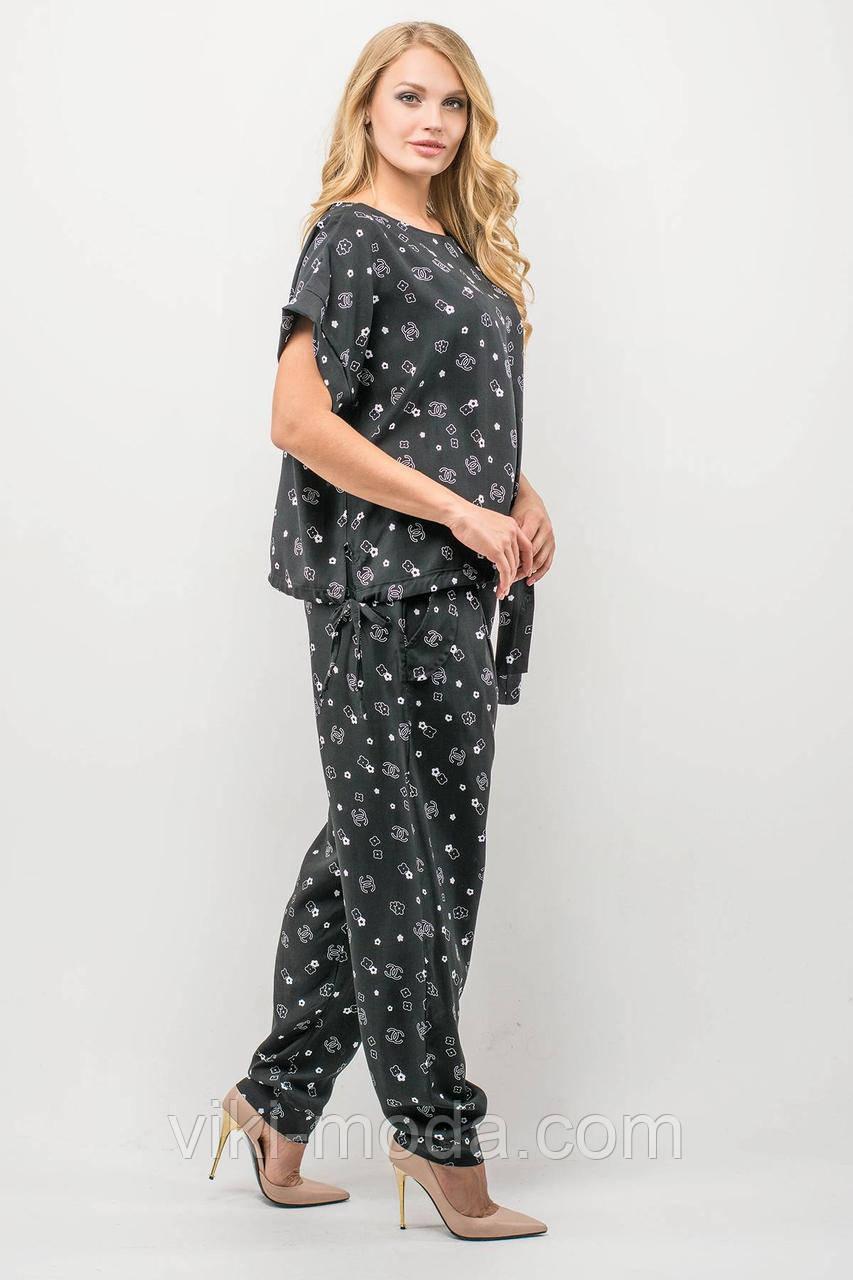 Женский летний штапельный костюм большого размера Лита, размер 52-62, цвет черный