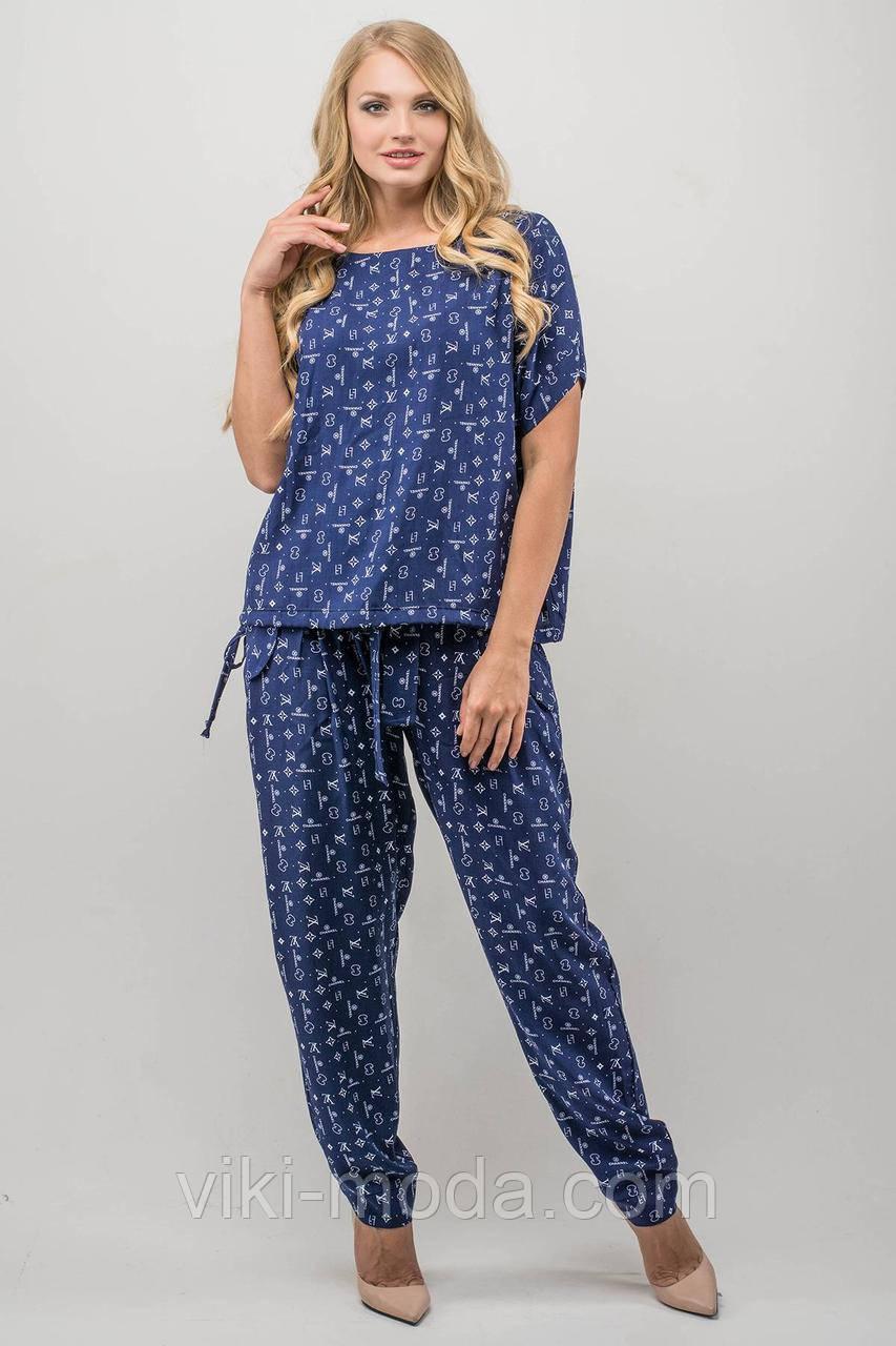 Женский летний штапельный костюм большого размера Лита,  цвет синий