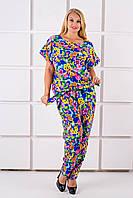 Женский летний штапельный костюм большого размера Лита,  цвет электрик цветы