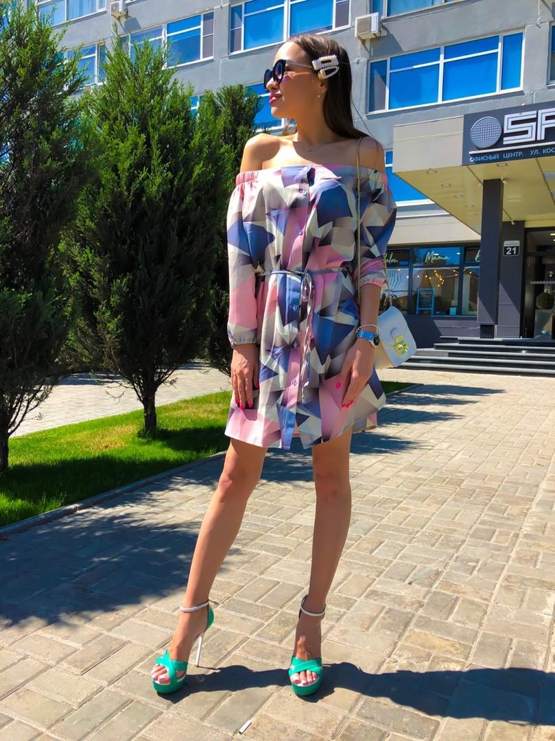 Платье с открытыми плечиками, ткань:софт.  Размер: 42-44.Разные цвета (6482)