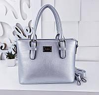 Женская сумка эко кожи цвета серебро