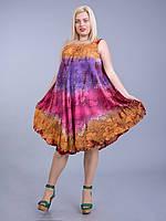Сарафан-разлетайка рыжий - фиолетовый - розовый, на 50-66 размеры