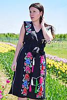 Юбка вышитая, льняная юбка бохо этно стиль, черная юбка с вышивкой, летняя юбка с поясом