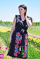 Вышитая юбка с поясом и блузка безрукавка в  бохо стиле, вышитая одежда лето, черная юбка и блузка комплект