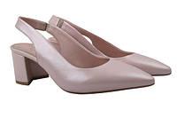 Туфли женские летние на каблуке Aquamarin Турция натуральная кожа, цвет пудра