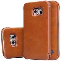 Кожаный чехол Nillkin Qin для Samsung Galaxy S6 Edge коричневый