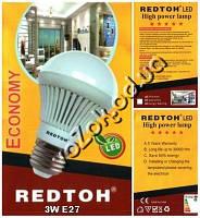 Светодиодная энергосберегающая Led лампа лампочка REDTOH 3Вт 6500К 220В Е27