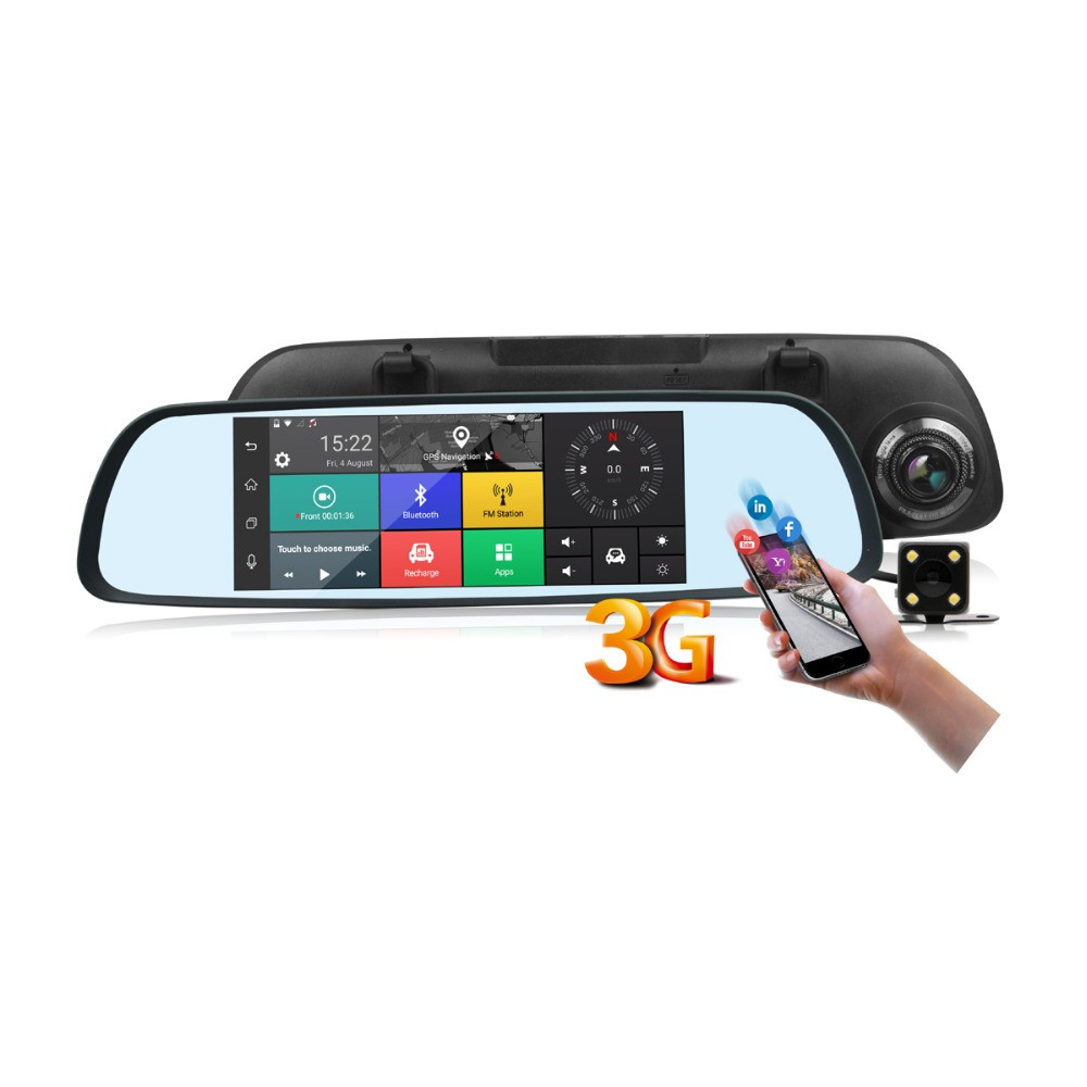 Автомобільне дзеркало-реєстратор на Android + камера заднього виду V300