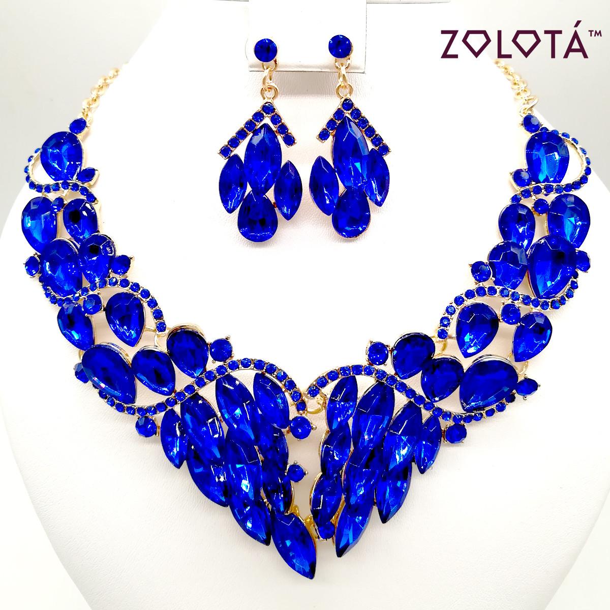 Комплект (Кольє + сережки) з синіми каменями, ЗЛ00140 (1)