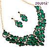Комплект (Кольє + сережки) з зеленими каменями, ЗЛ00135 (1), фото 4