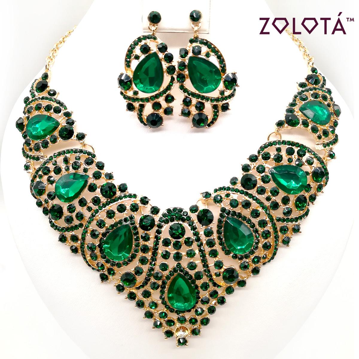 Комплект (Колье + серьги) с зелеными камнями, ЗЛ00142 (1)