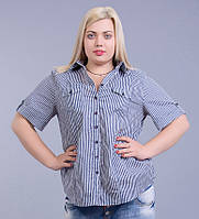 Блуза - рубашка сине-белая в полоску, большие размеры (56-64)