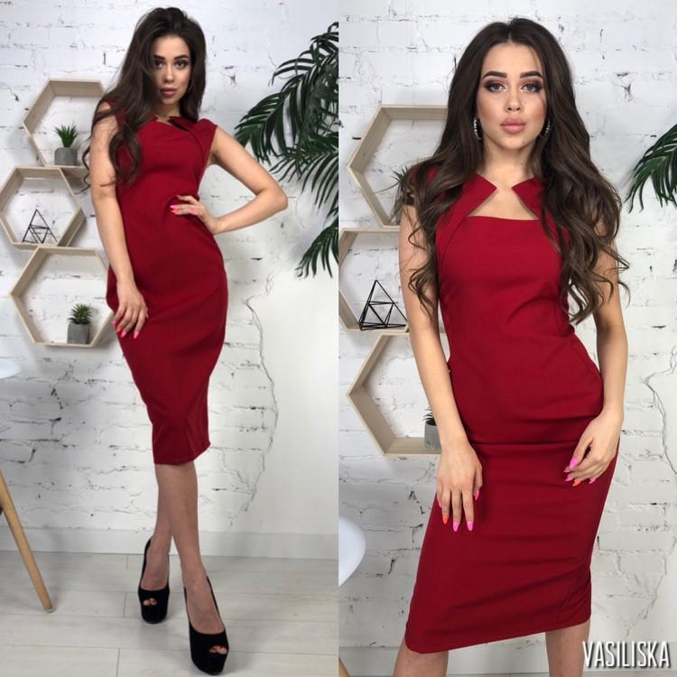 Платье с декольте, ткань: костюмка.  Размер:С,М, Л(М и Л под заказ). Разные цвета (6492 )