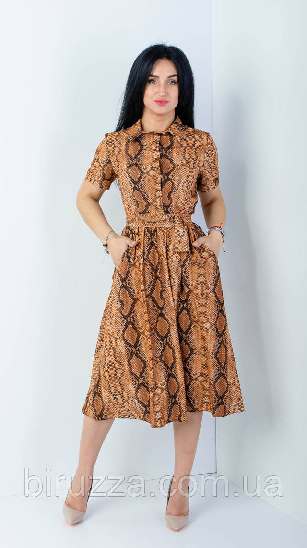Женское коричневое плате с принтом размеры 42,44,46,48
