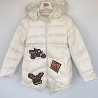 Пальто детское для девочки синтепоновое MotoBike молочное 014809