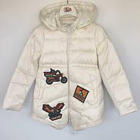 Пальто детское для девочки синтепоновое MotoBike Vilen Китай молочное 014809