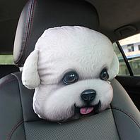 Мягкая подушка-подголовник белая болонка для машины, 3D подушка для всех автомобилей