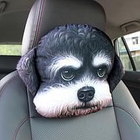 Мягкая подушка-подголовник собака гаванский бишон, для машины, автокресла, 3D подушка