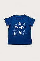 """Стильная детская футболка """"Акулы"""" на мальчиков от 4 до 7 лет (р. 104-128) ТМ Модный карапуз Синий"""