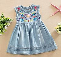 Джинсове плаття літнє для дівчаток / Детское платье с цветочной вышивкой для маленьких девочек