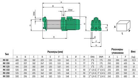 Багатоступінчастий насос 100 MK M 230 V 0,74 кВт Sea-Land (Італія), фото 2