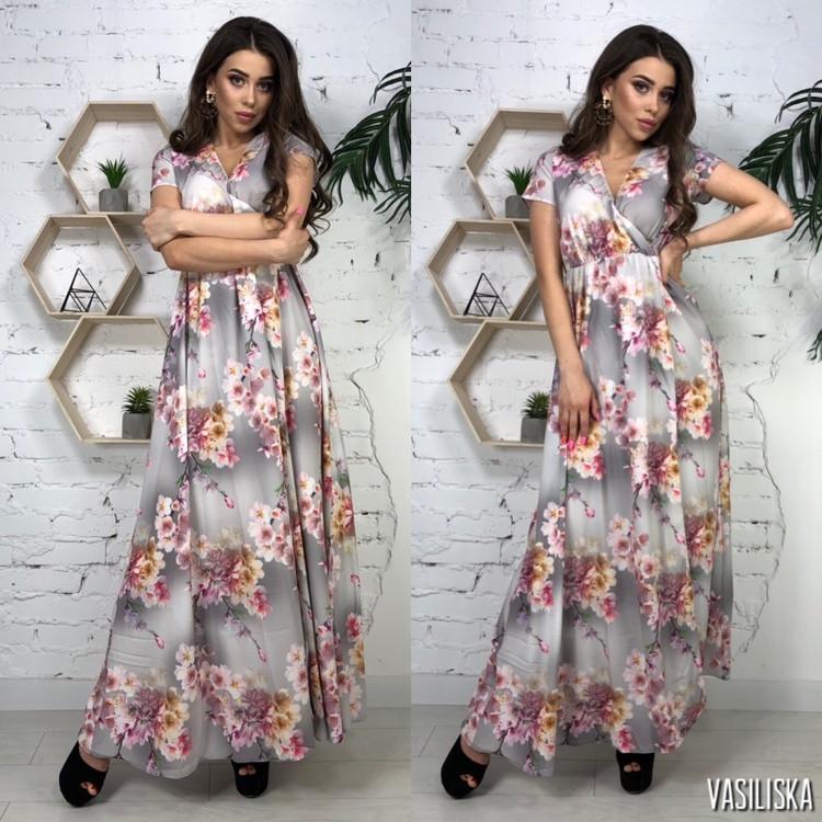 Сукня з принтом міді, тканина: софт. Розмір: С,М. Різні кольори (6493)