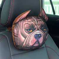 Подушка-подголовник собака американский бульдог для машины, автокресла, мягкая 3D подушка для автомобиля