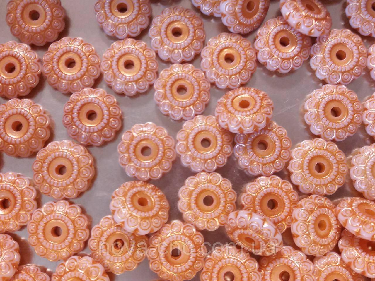 """Бусины пластик """"Колесо"""" оранжевый 20 х 7 мм  500 грамм"""