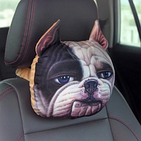 Подушка-подголовник собака английкий бульдог для дороги, мягкая 3D подушка для подголовника автомобиля