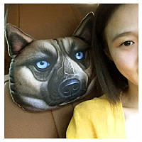 Подушка-подголовник собака овчарка в дорогу, мягкая 3D подушка на подголовник в автомобиль