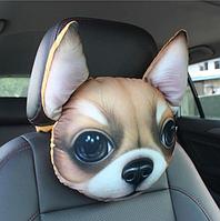 Подушка-подголовник собака чихуахуа в дорогу, мягкая 3D подушка на подголовник в автомобиль