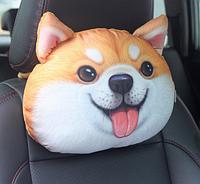 Забавная подушка-подголовник собака акита ину, в дорогу, мягкая 3D подушка на подголовник в автомобиль