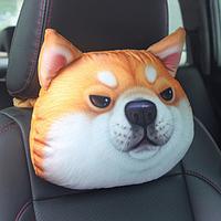 Подушка-подголовник серьезная собака акита ину, мягкая 3D подушка на подголовник в автомобиль