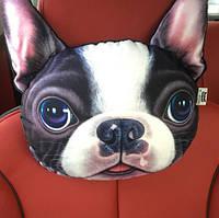 Подушка-подголовник собака французский бульдог, мягкая 3D подушка на подголовник в машину