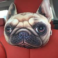 Подушка-подголовник собака мопс, мягкая 3D подушка на подголовник в машину