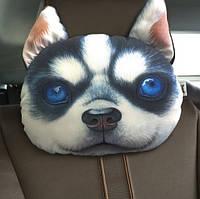 Милая подушка-подголовник щенок хаски, мягкая 3D подушка на подголовник в машину, в автокресло