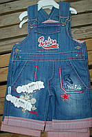 """Комбинезон джинсовый шорты""""ретро"""" для мальчика 1-3 года красный"""