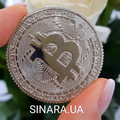 Велика срібна монета Биткоин діам. 4 см - Биткоин сувенірна монета - Биткоин подарунок програмісту