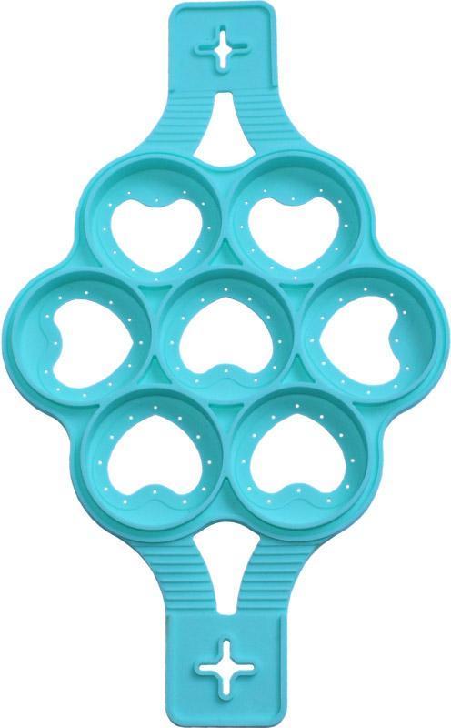 Форма-трафарет Серце для смаження оладок і яєчні Ø23.5см силіконова, 7 клітинок