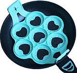 Форма-трафарет Серце для смаження оладок і яєчні Ø23.5см силіконова, 7 клітинок, фото 2