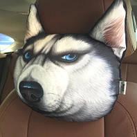 Подушка-подголовник удивленная хаски, мягкая 3D подушка на подголовник в машину, в автокресло