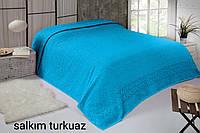 Турецкая махровая простынь евро 200*220 Tм Zeron Salkim turkuaz