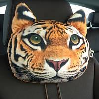Экзотическая подушка-подголовник Тигр, мягкая 3D подушка в машину, автомобиль